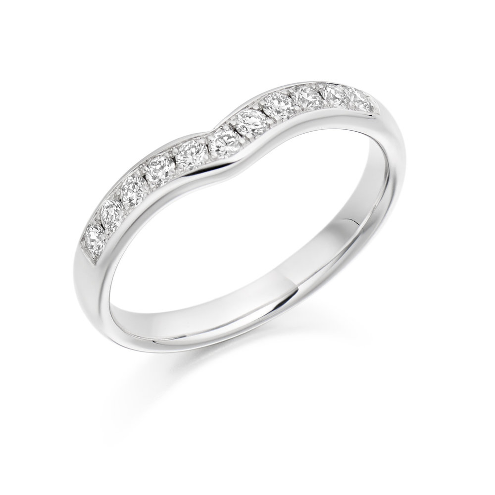 0.30ct brilliant cut diamond curved & shaped wedding ring