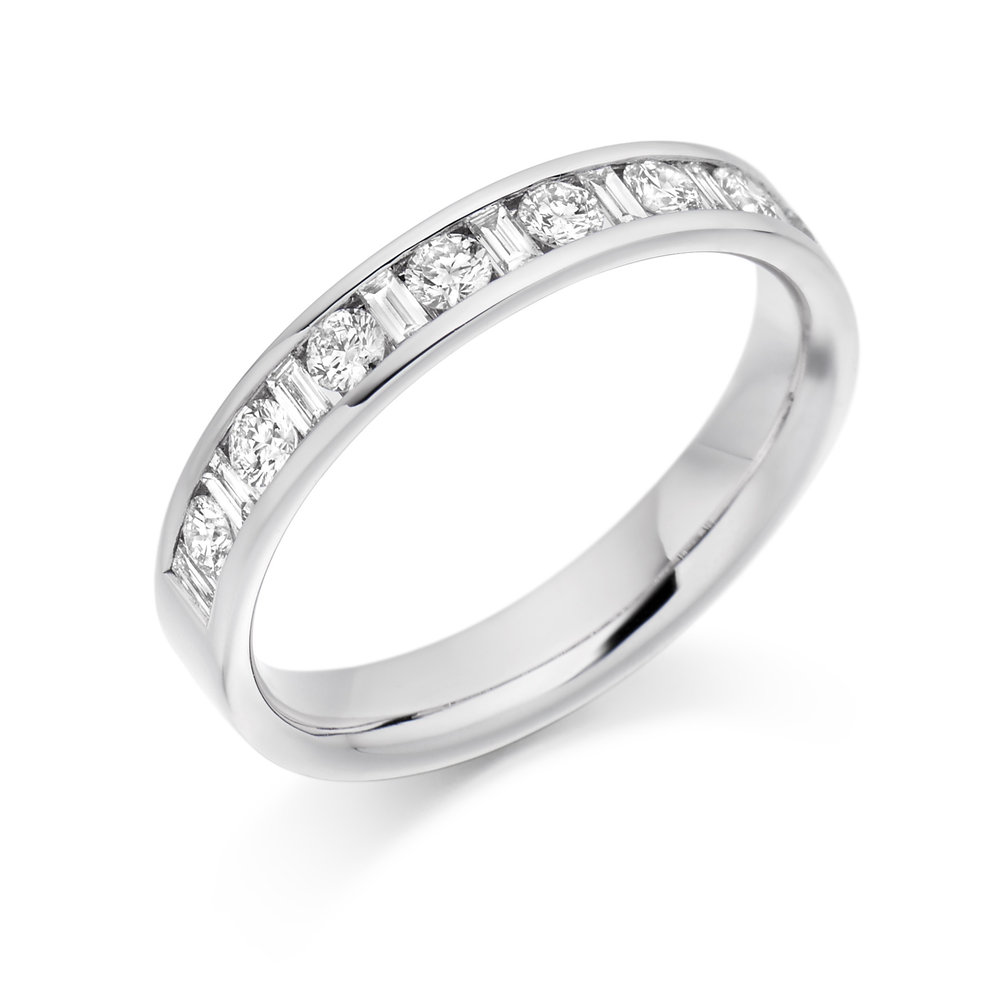 0.50ct round & baguette diamond half eternity in 18ct