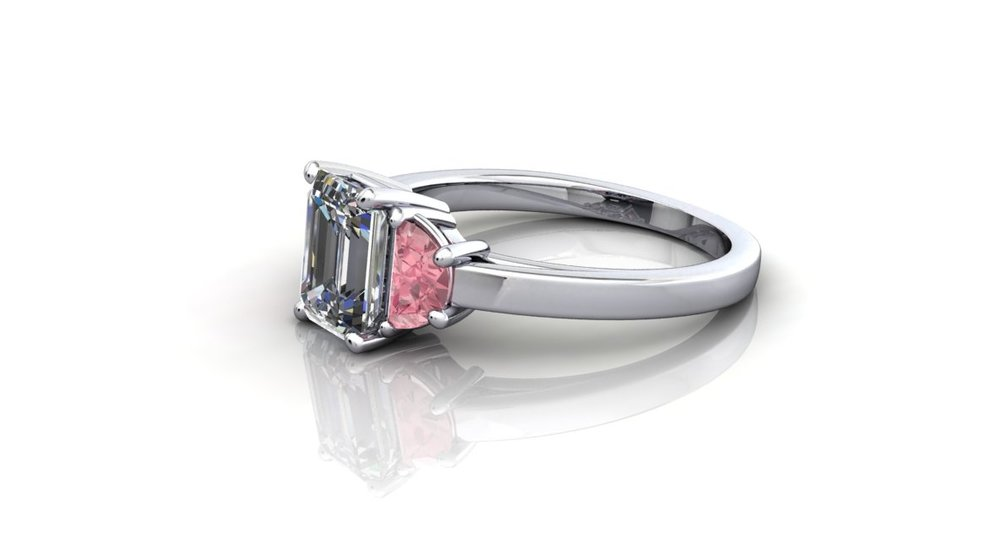 emerald cut diamond and pink sapphire ring