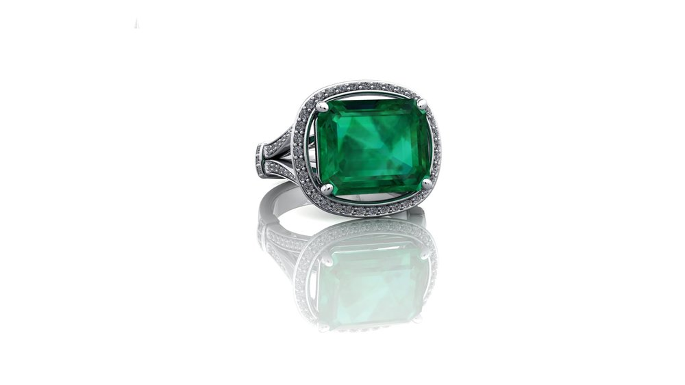 Emerald and Diamond Ring by Christopher Stoner