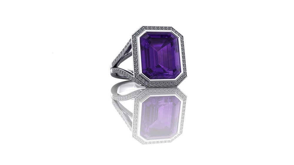 Stunning Amethyst and Diamond Ring by Christopher Stoner