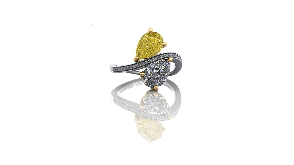 Unique Natural Yellow Diamond Ring by Christopher Stoner
