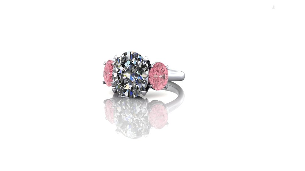 Trilogy Ring with Natural Pink Diamonds