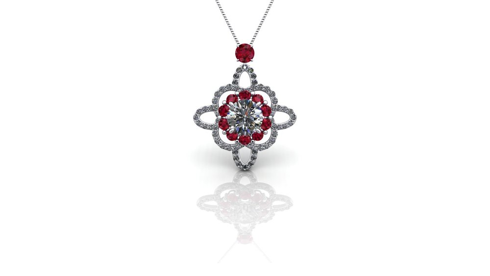 Ruby and Diamond Pendant by Christopher Stoner