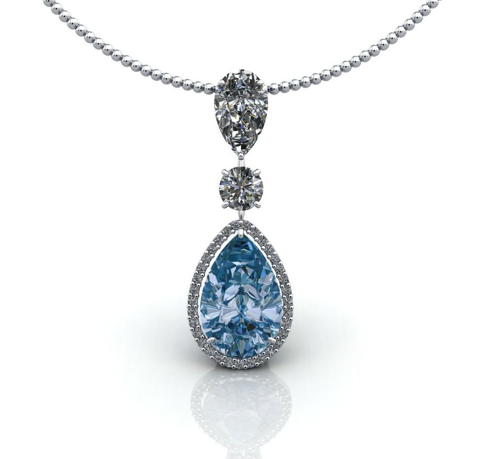 Aquamarine and diamond pendant by Christopher Stoner