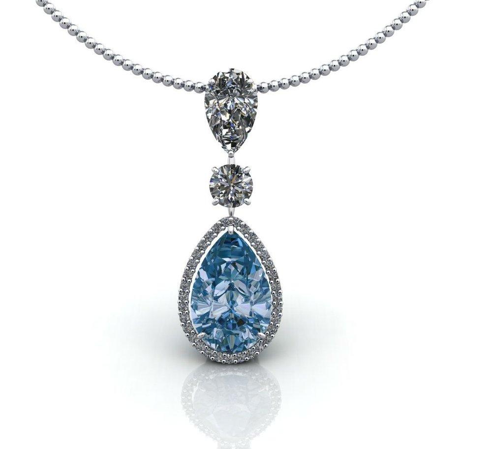 Aquamarine and diamond pendant by Christopher Stoner