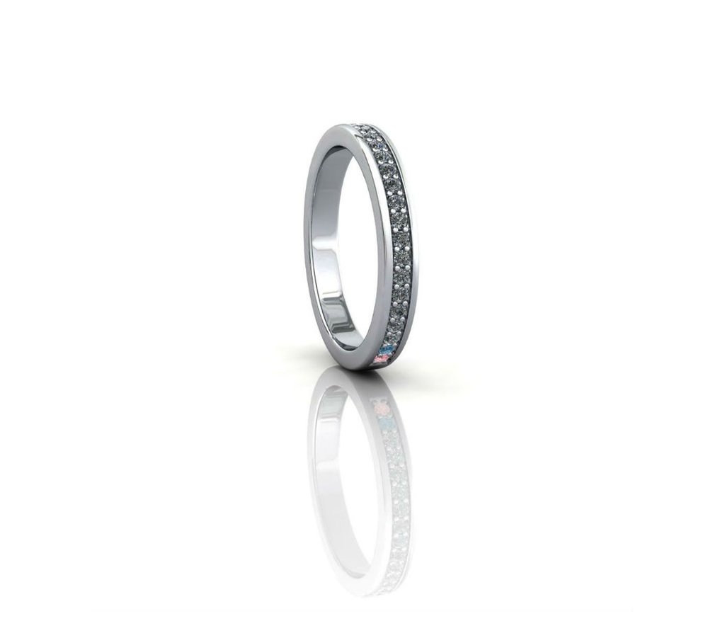 eternity ring with two sapphires