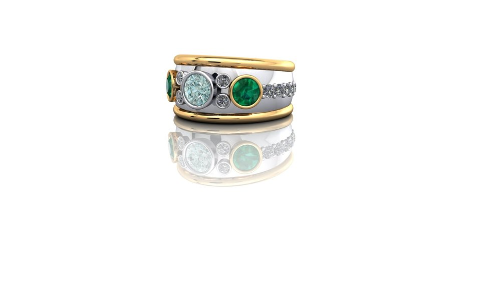 Bombe style ring in platinum and 18ct gold