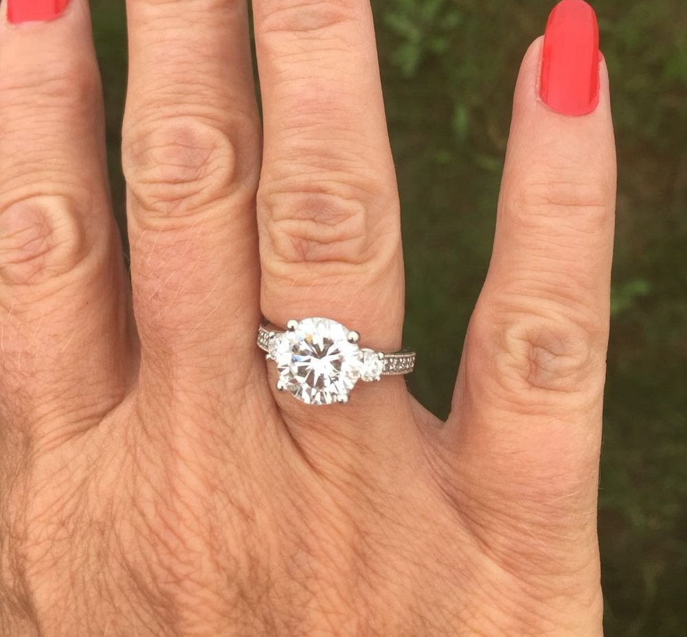 "Platinum Ring Redesign   "" What an amazing transformation you have created to my wife's Diamond Solitaire ring. The new Platinum ring you have designed and crafted is stunning.    ""She can't wait for you to work your 'magic' on her three stone ring now!"" - Mr Havers, Harrogate"
