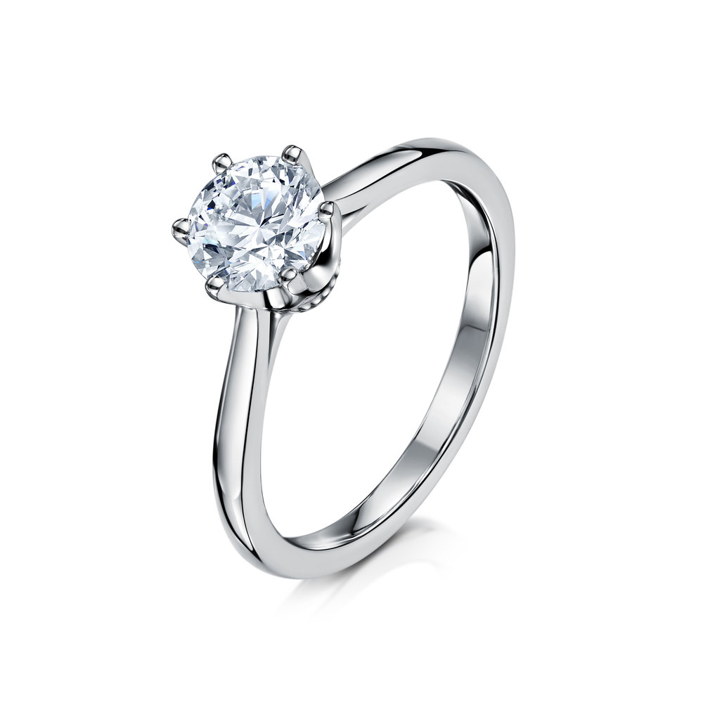6 Claw Diamond Engagement Ring - Mabel