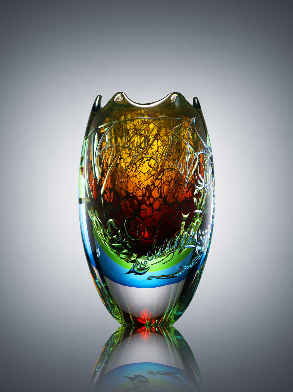 Micke Johansson, Explores, 2017, Double ariel glass, 14 x 6 x 6 in., Courtesy of Graariel Ltd