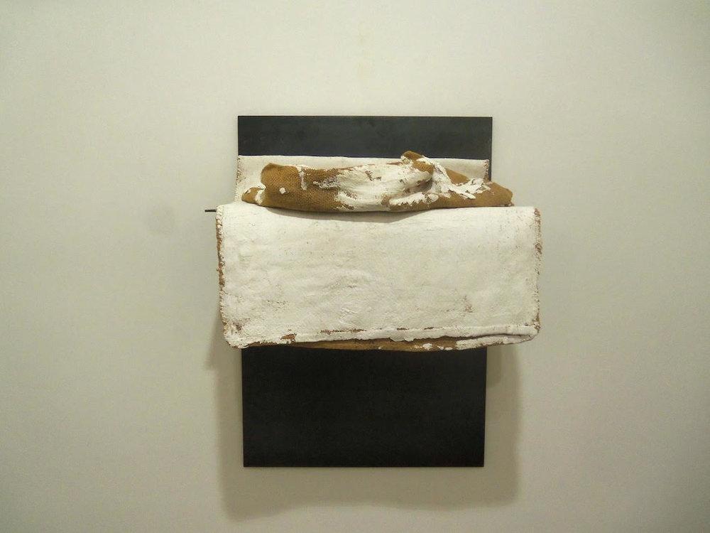 Jannis Kounellis,  Untitled , 2001 Iron, jute sack, gypsum, 39.5 x 27.5 x 16.5 inches (100 x 70 x 42 cm)
