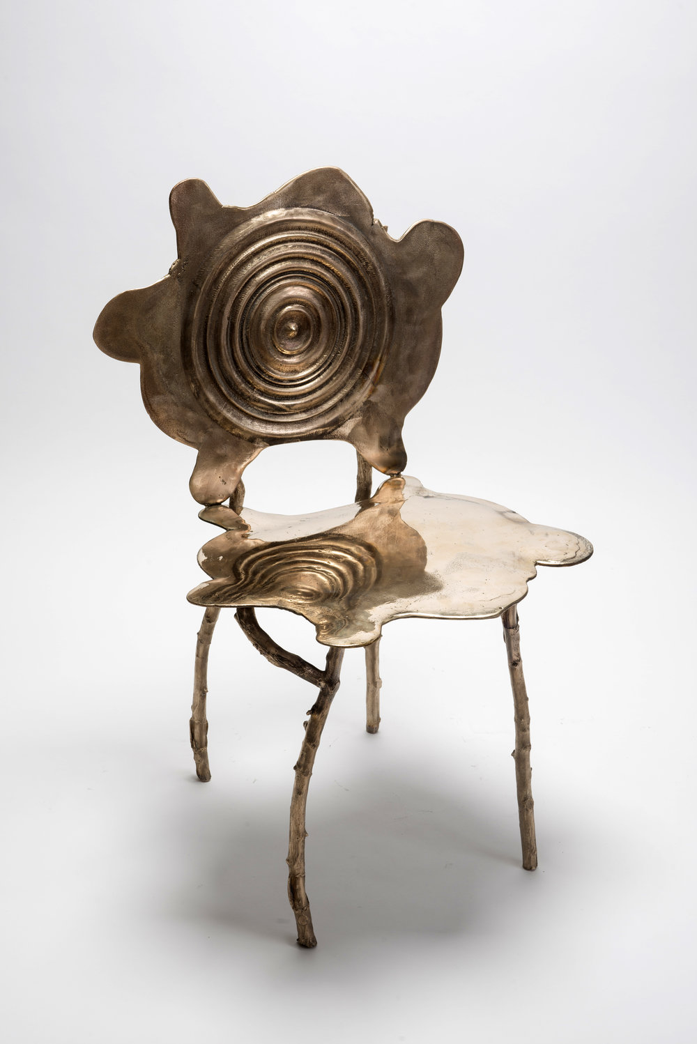 GREGORY NANGLE  Ripple Rorschach Chair, 2018  Low polish cast bronze  24 x 20 x 38 in (seat height: 19 in)