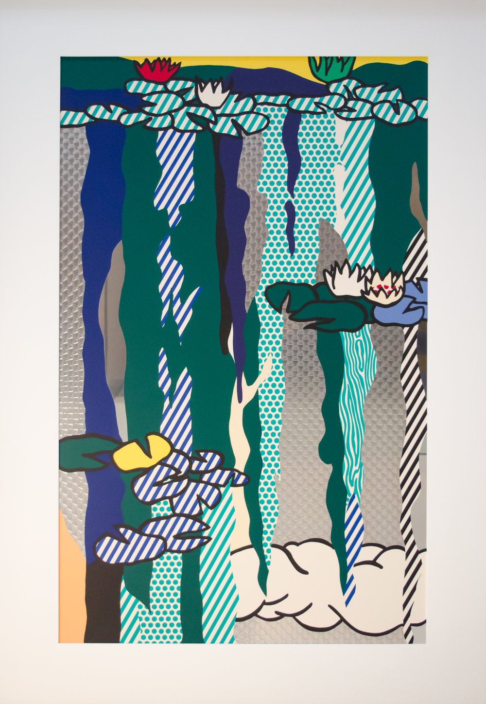 Roy LICHTENSTEIN,  Water Lilies with Cloud  (C. 263), 1992, Screenprint enamel on processed and swirled stainless steel, 65.5 x 44.75 in