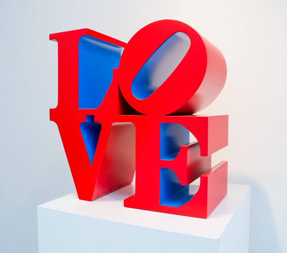 Robert INDIANA,  LOVE (red/gold) , 1996-2002, Polychrome aluminum, 18 x 18 x 9 inches
