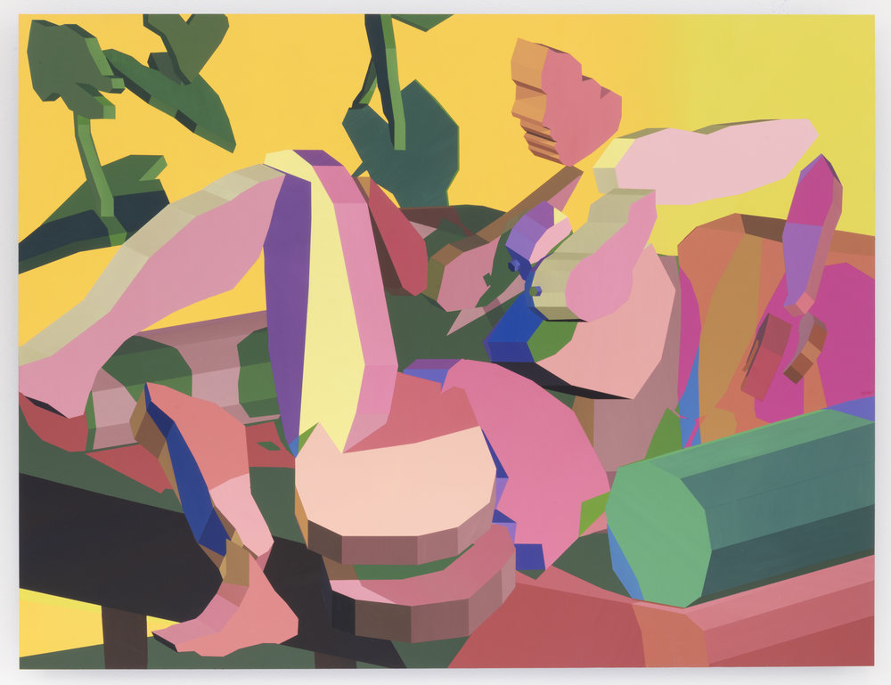 Jonathan Chapline,  Virtual Characters, Domestic Landscape III,  2018. Acrylic and flashe on panel. 47 x 60 inches, 119 x 152.5 cm. Courtesy of The Hole, NYC.