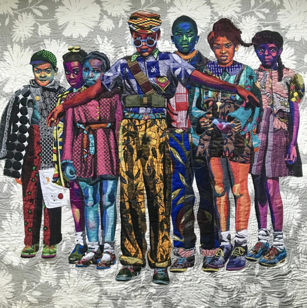 Bisa Butler  The Safety Patrol , 2018 Quilted and appliquéd cotton, wool and chiffon 82 × 90 inches Claire Oliver Gallery