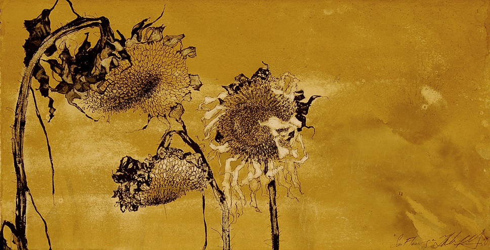 """Fall Sun Flowers"" Pen, ink & gouache on white paper, 12""x23.5""-SOLD"
