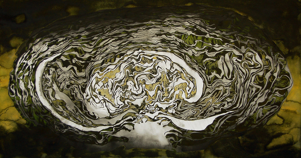 """Ferment III"" (Cabbage)  India ink, liquid acrylic paint, Conte crayon & gouache on paper, 28""x52""-SOLD"