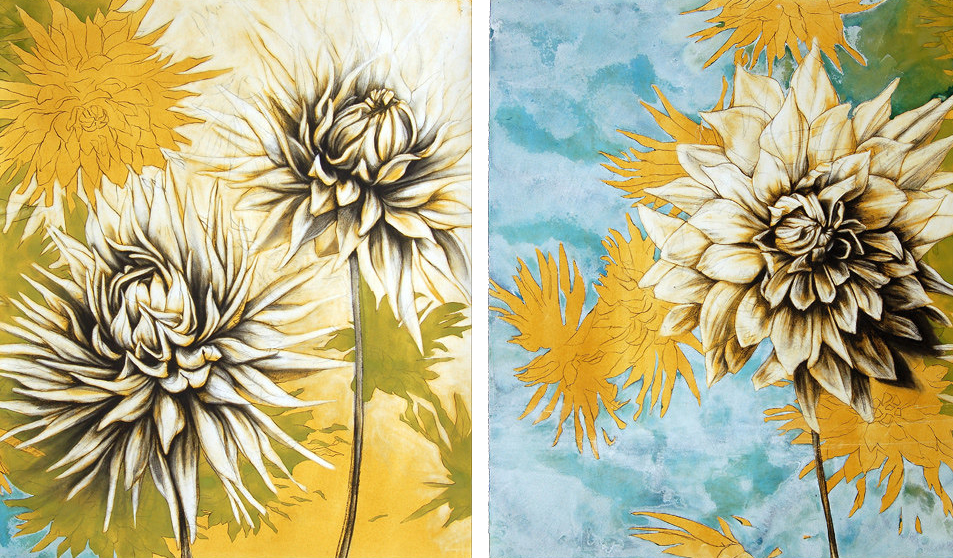 """Summer Solstice""  (Diptych), Conte crayon, liquid acrylic paint & gouache on paper, 60w""x36h""-SOLD"
