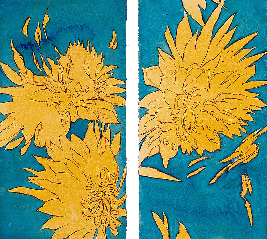 """Summer Flowers""  (Diptych), Conte crayon, liquid acrylic paint & gouache on paper, 16""x14""-SOLD"