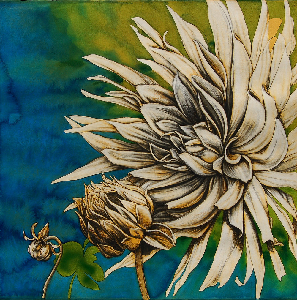 "Commission ""Spring & Summer Dahlias"", ~42""x42"""