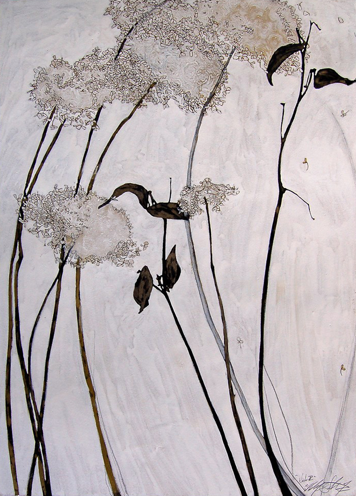 """Winter Hadrangea II"", Ink & gouache on paper, 22""x30""-SOLD"