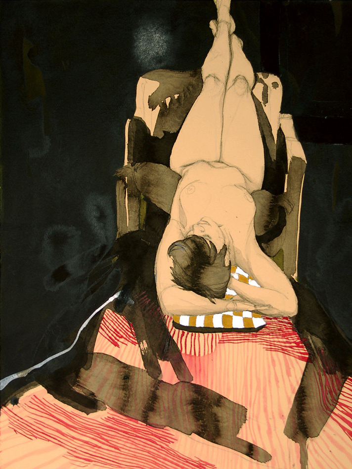 """Jane w/ Striped Blanket"", Conte Crayon, ink & gouache on archival tan paper, 16""x26""-SOLD"