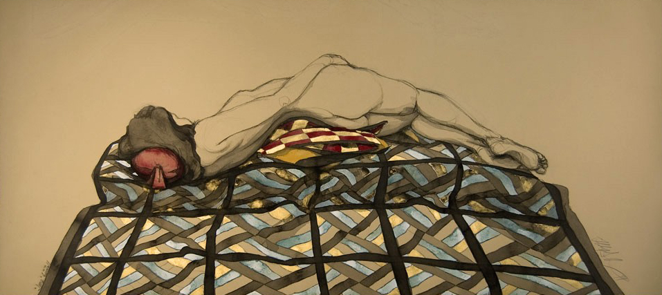 """Jane With Guatemalan Blanket "", Ink, Conte crayon, iridescent watercolor & gouache on tan paper, 40""x17.75"" -SOLD"