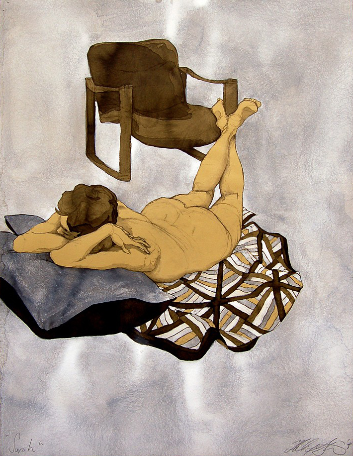 """Sarah With Blanket and Chair"", Pen, ink, Conte crayon & gouache on tan paper, 20""x26""-SOLD"