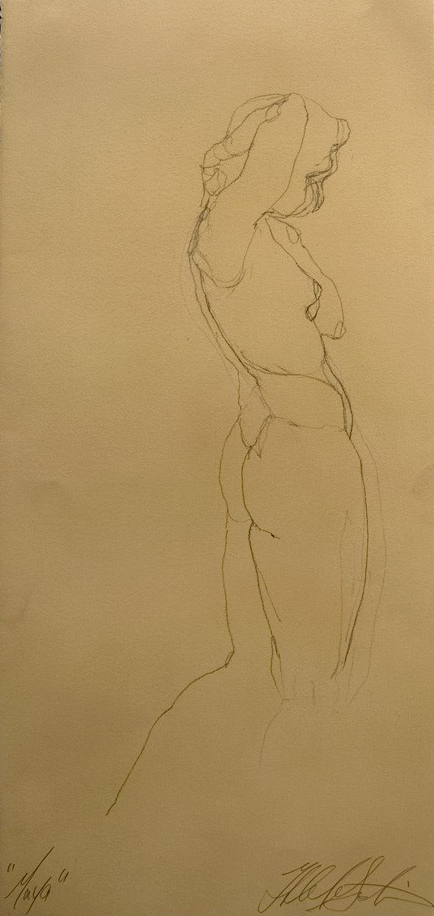 """Maya's side"", Conte crayon on an archival tan cotton rag paper, 13.75""x30"" -SOLD"