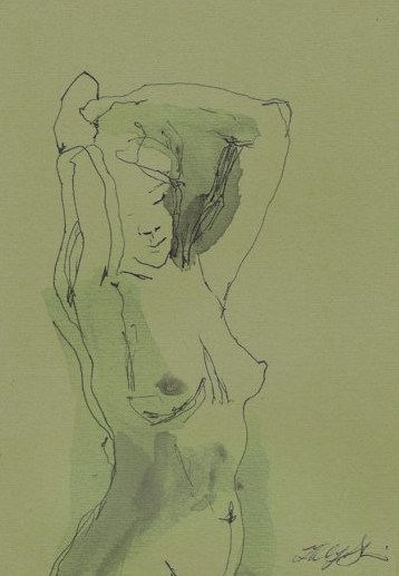 "Green Woman, pen & Ink wash drawing on green paper, 4.5""x 6.5""-SOLD"