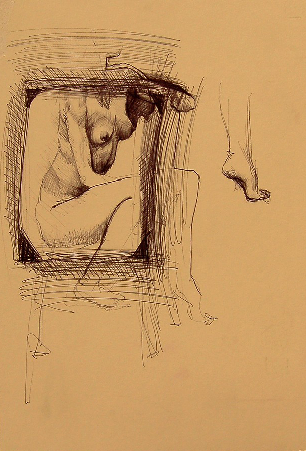 """Torso Study"" ~8""x11"", ball point pen on a cream colored matte board."