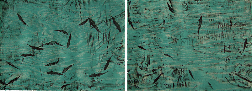 """Kitch-iti-kipi"" Diptych (Big Spring)   Inspired by the largest spring in Michigan's upper peninsula filled with steel-head fish. One of the most beautiful places I've been to.   An edition of 15 signed and numbered prints incorporating two intaglio plates and two woodblocks printed on archival white Reeves BFK paper each piece is 22"" x 30"" making the whole piece 22""x60"",  $3750.00"