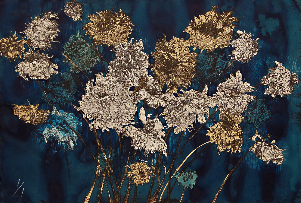 """""""Fall Dahlias II"""" (hand colored w/ blue liquid acrylic paint) print incorporating one etched plate and one wood block on archival tan paper, 24.25"""" x 36"""". Varied edition.-  $2750"""