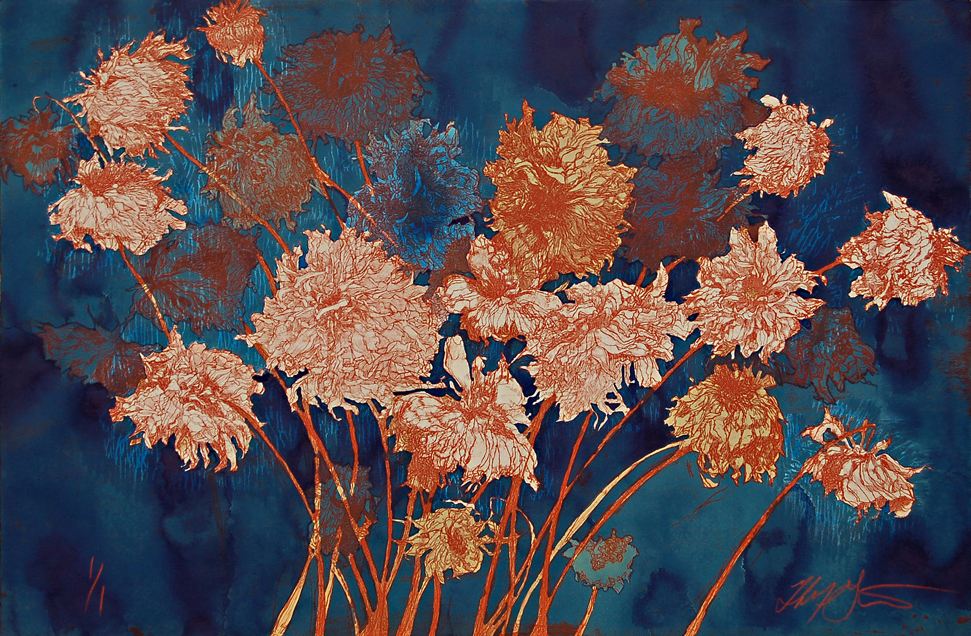 """""""Fall Dahlias II"""" (hand colored with blue liquid acrylic paint) this print incorporates one etched plate and one wood block on archival tan Reeves BFK paper, 24.25"""" x 36"""",  $2250"""