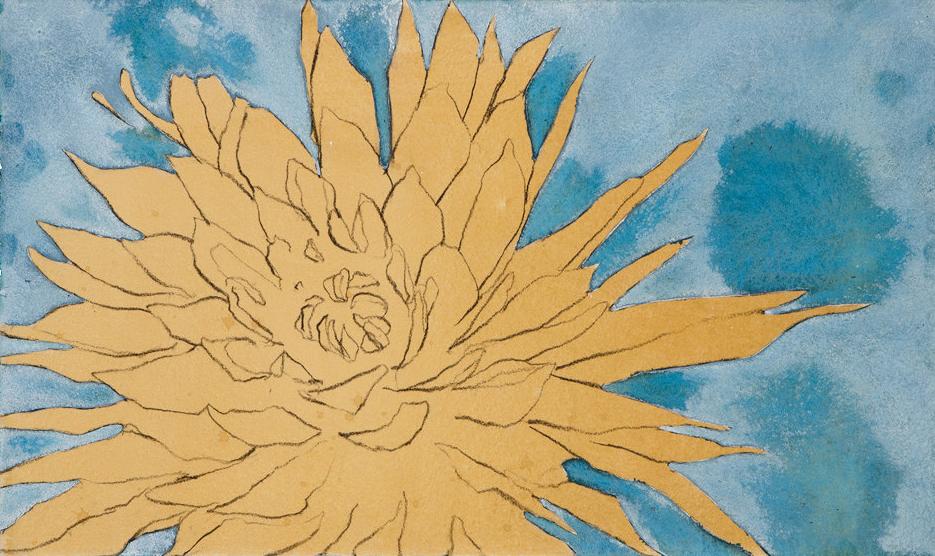 """Summer Dahlia III"", Conte crayon, gouache & liquid acrylic paint on paper,17""x11"" ,  $650.00"