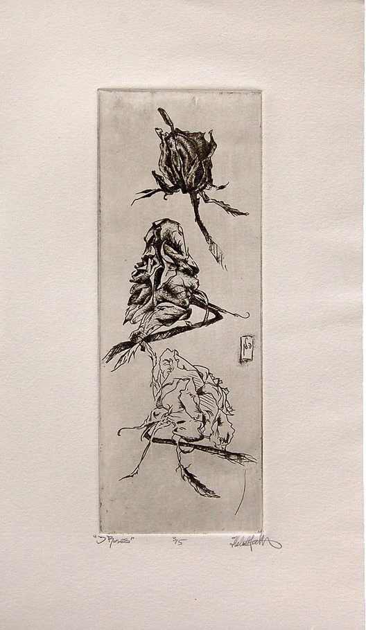 """3 Roses"" etching,  ~5""x12"",  $75.00"