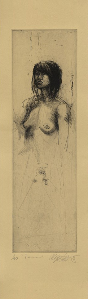 """Diana"" drypoint print / etching, 7""x22"",  $235.00"