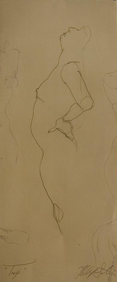 """Tanya"", Conte crayon on paper,   10""x24"",  $250.00"
