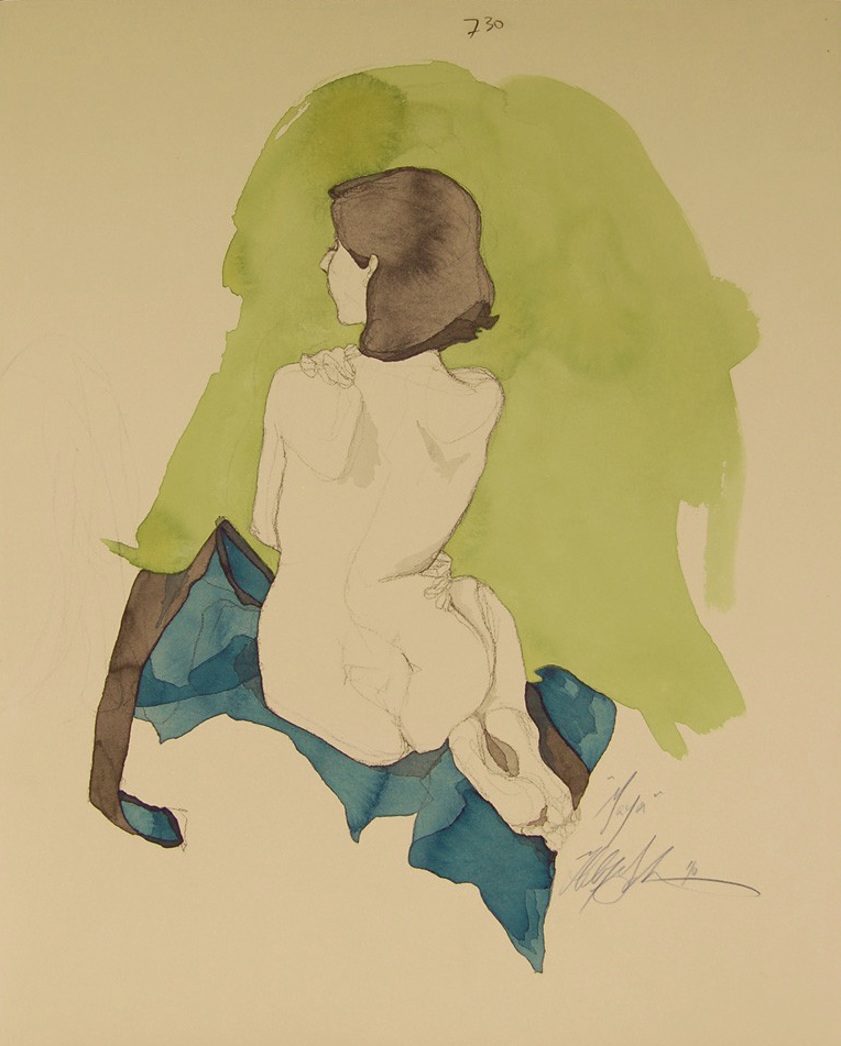 """Maya's Back""(Green and Blue)    Conte Crayon, ink, gouache & acrylic paint on archival tan paper, 17""x21"",  $750.00"
