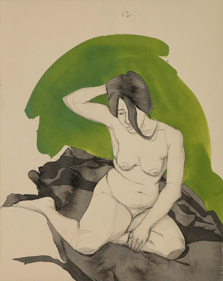 """Fadia"" (Green), c  onte crayon, ink & acrylic paint on archival tan paper ~14""x18"",  $625.00"