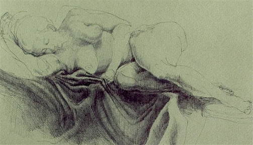 """Windy""   Original drawing. Ball point pen on green paper,   9h""x 15w"",  $550.00"