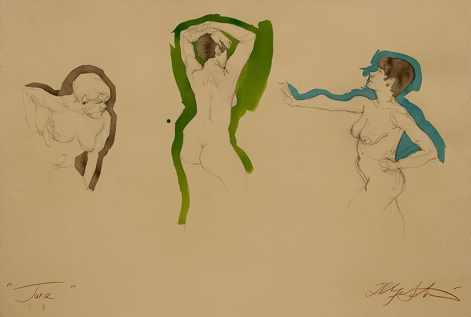 """Jane 3 Figures"" -Conte Crayon, ink, liquid acrylic paint & color pencil on tan paper, ~30""x44"",  $1250.00"