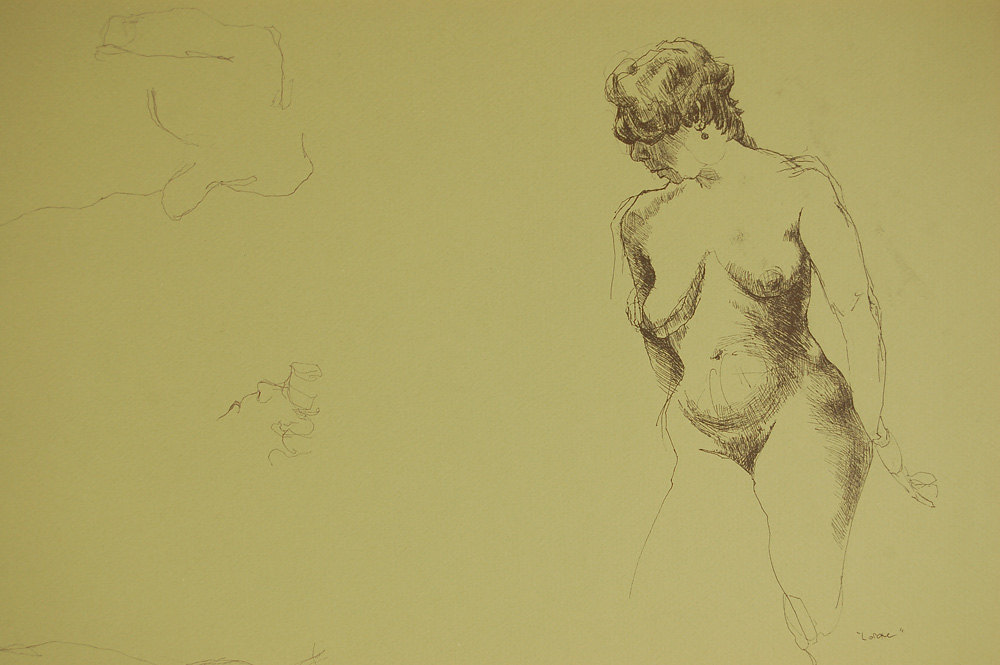 """Lorraine"", p  en on green paper,   ~25.5w""x 19.5h"",  $650.00"
