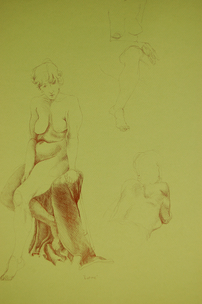 """Lorraine"", b  all point pen on green paper.  ~25.5h""x 19.5w"",  $575.00"