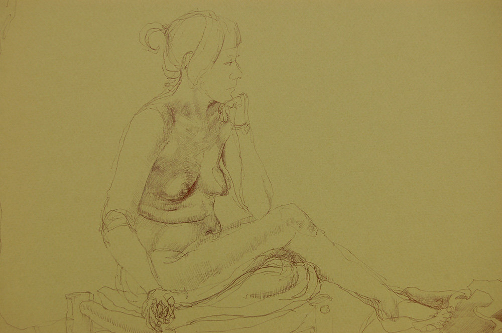 """Kay"", b  all point pen drawing on green paper.  ~25.5h""x 19.5w"",  $575.00"