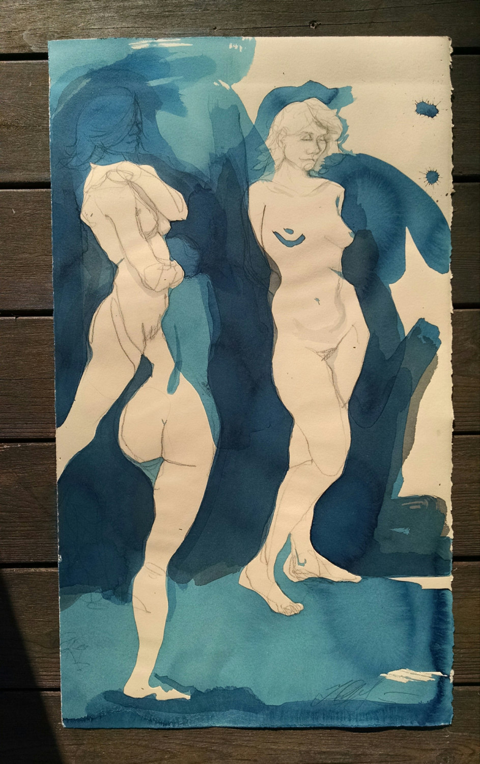 """Maya 3 figures""(w/ blue), Conte crayon, ink, liquid acrylic paint & watercolor on tan paper, 30h"" x 17.5w"", -SOLD"