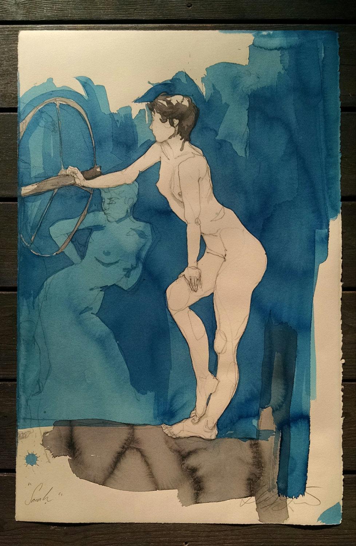 """Sarah 2 figures"" Conte crayon, ink & liquid acrylic paint on tan paper,30h"" x 19.75w"",  $775.00"