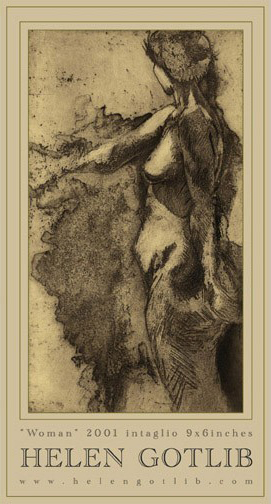 """Woman"",   This poster was made from one of my first etchings. 13.5""x25.25"",  $15.99"